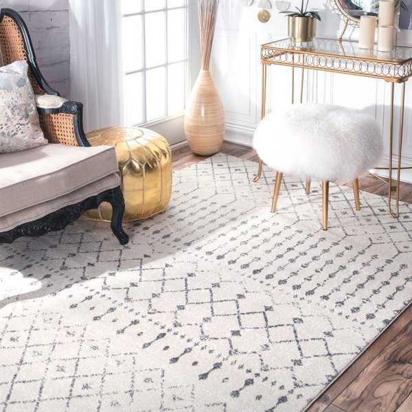 Ivory/ Grey Moroccan Geometric Beads Area Rug - 9' x 12' - 9' x 12'