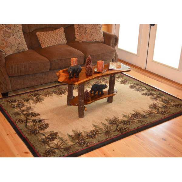 Rustic Lodge Brown Pine Cone Border Cabin Area Rug - 5'3 x 7'3